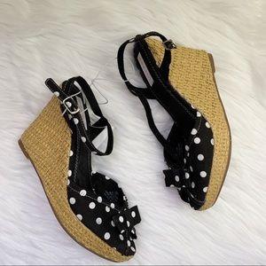 Xhilaration Polka Dot Open Toe Bow Wedge Sandals